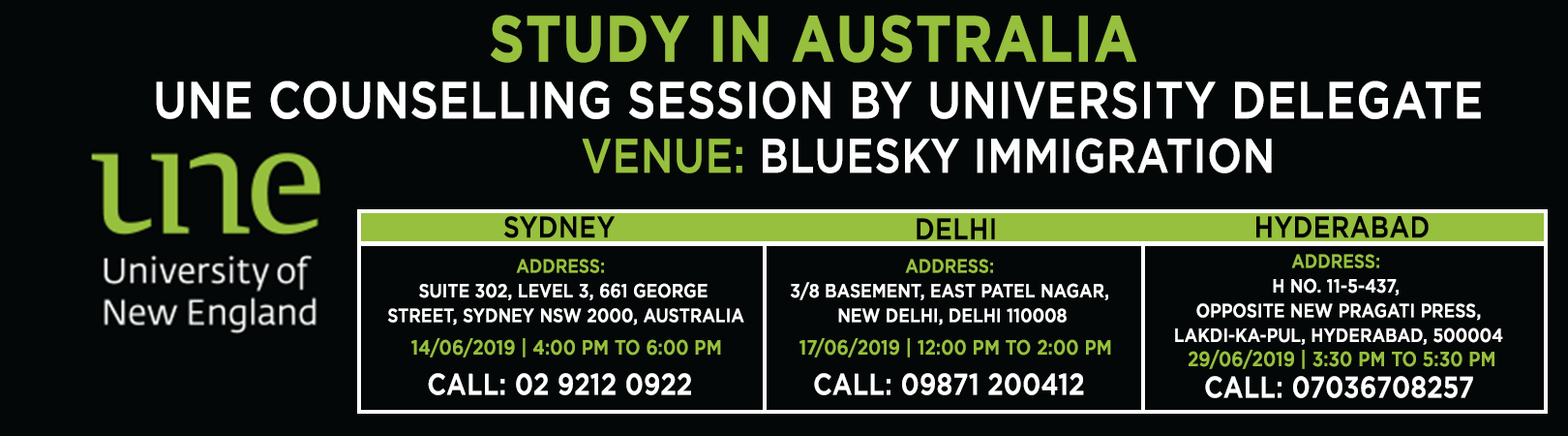 STUDY IN AUSTRALIA | UNE Counselling Session by University delegate