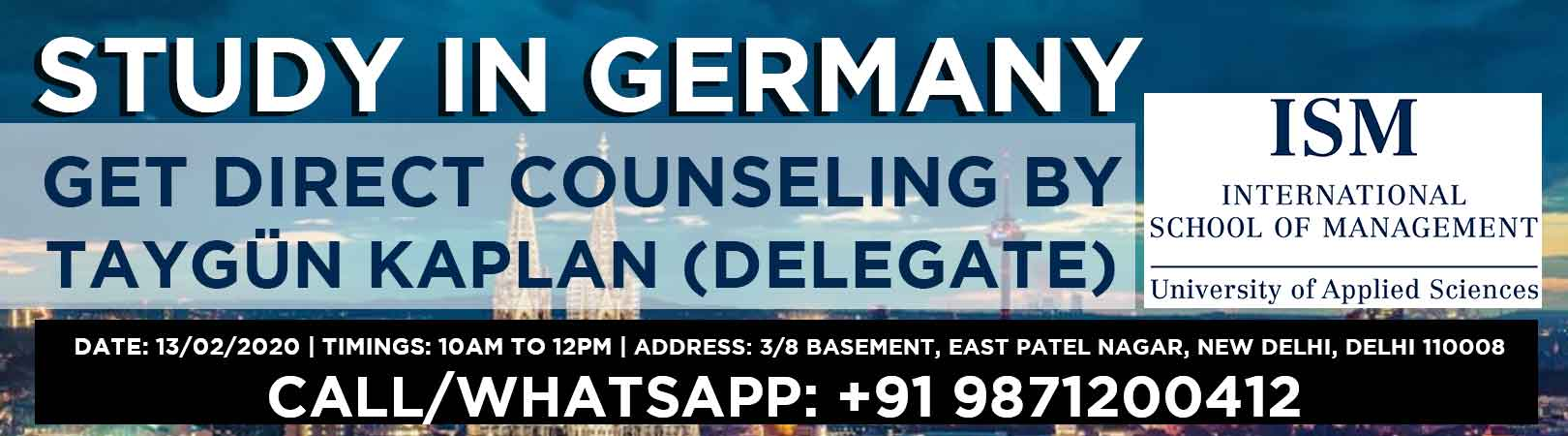 Study in Germany - Get counseling by Taygün Kaplan, ISM International School of Management